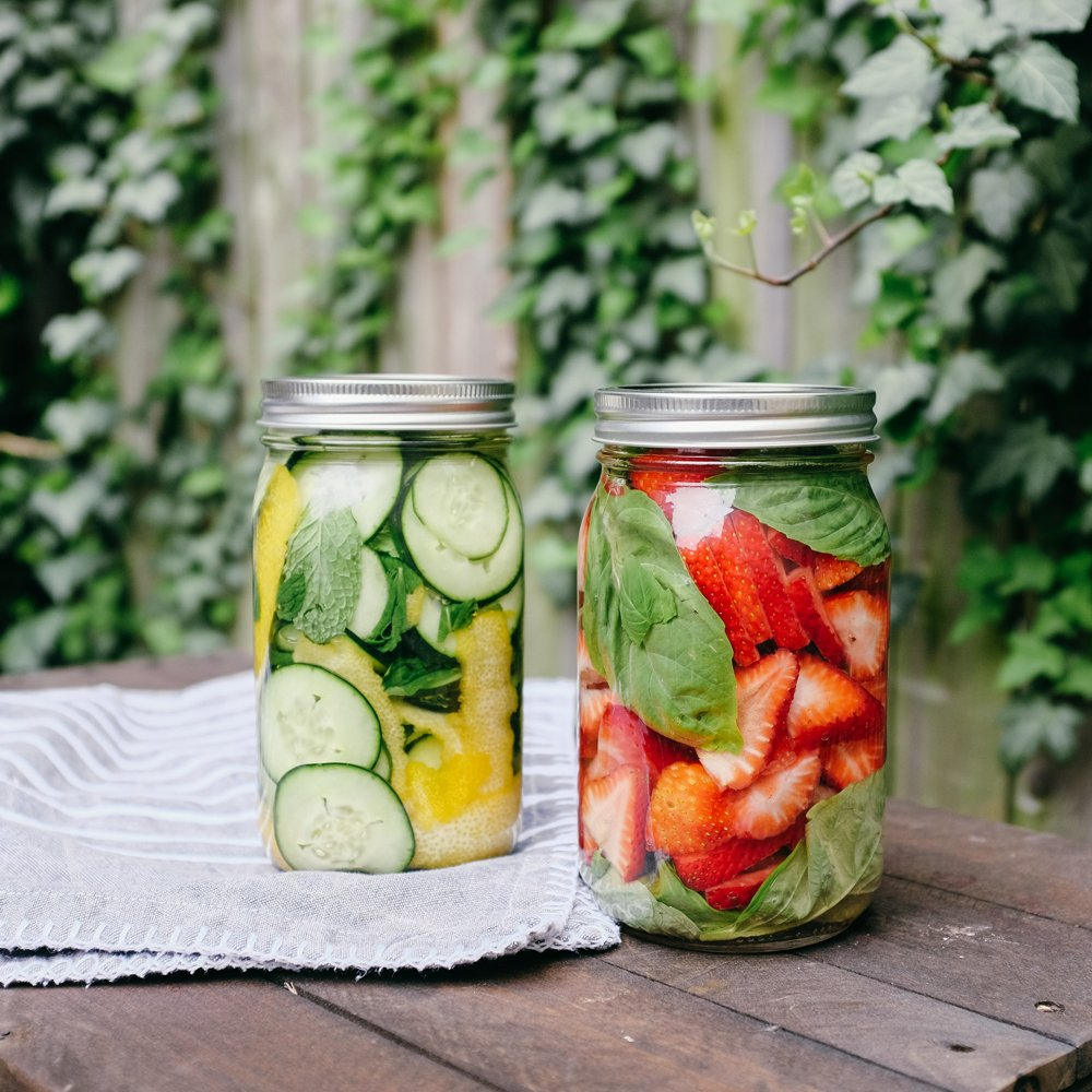 We made Lemon Cucumber Mint & Strawberry Basil infusions with vodka.